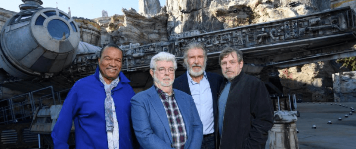 George Lucas, Mark Hamill, Harrison Ford, and Billy Dee Williams help open Star Wars: Galaxy's Edge!