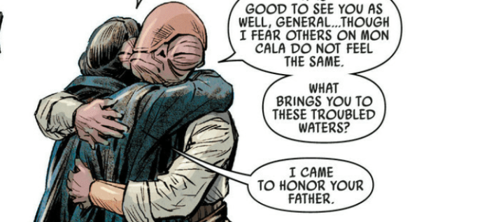 Leia Organa went to Mon Cala to mourn the death of Admiral Ackbar with his son