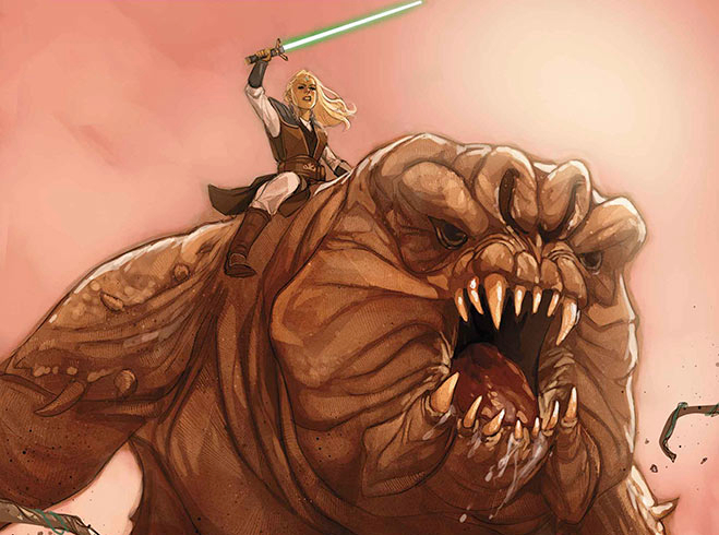 The cover for Star Wars: The High Republic #6 shows Avar Kriss riding aRancor!